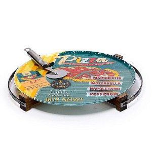 Prato Para Pizza com Suporte de Madeira e Cortador