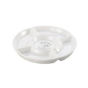 Petisqueira de Porcelana Sweet Home com 05 Divisões 28 Cm