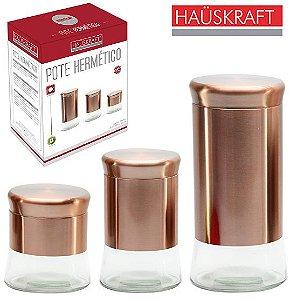 Conjunto de Potes de Vidro e Inox Rose gold - Hauskraft