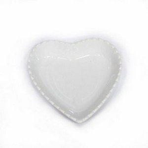 Travessa de Coração Borda Decorada Branca 10 cm