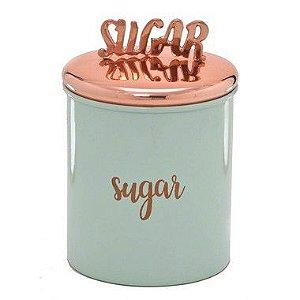 Lata de Açúcar Verde Água com Puxador Bronze