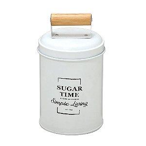 Lata de Açúcar Branca com Puxador de Madeira