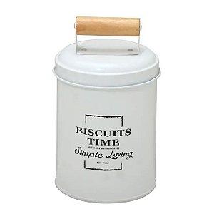 Lata de Biscoito Branca com Puxador de Madeira
