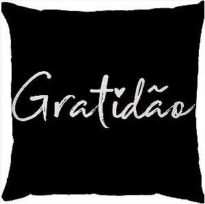 Capa de Almofada Gratidão Preta