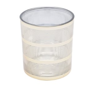 Castiçal de Vidro Laser Dourado