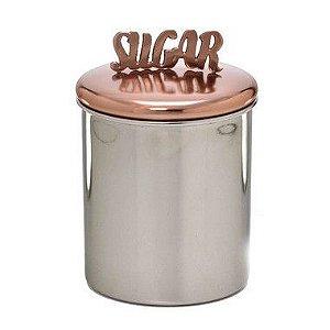 Lata Açúcar Prata com Puxador Bronze
