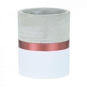 Vaso Cimento Cobre e Branco 11 cm