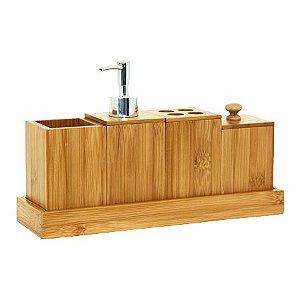 Kit para Pia de Banheiro Bambu 5 Peças