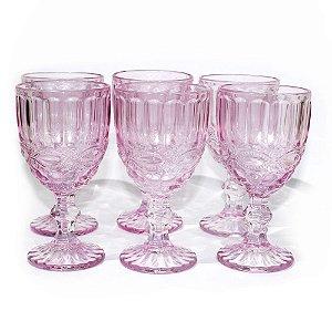 Jogo de 6 Taças de Vinho Laço Rosa - Mimo Style