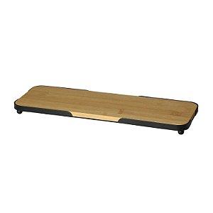 Bandeja Retangular de Bambu com Moldura de Metal - Lyor