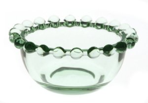Bowl Decorativo Borda de Bolinhas Vidro Clear Pequeno Verde 8,7cm