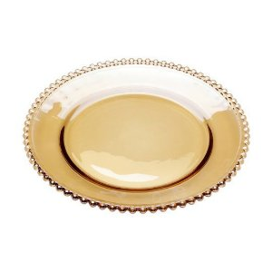 Prato de Cristal de Chumbo para Sobremesas Pearl  Ambar 20 cm - Wolff