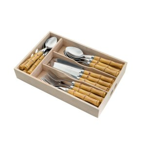 Faqueiro 24 Peças Aço Inox com Cabo de Plástico Bambu e Suporte de Gavetas - Bom Gourmet