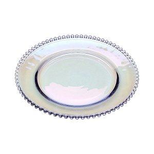 Prato de Cristal de Chumbo Pearl Rainbow Furta Cor Bolinhas 28cm - Wolff