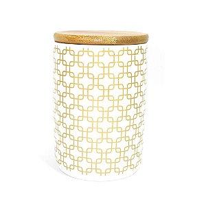 Pote Porcelana Quadrados com Tampa de Madeira 13,5 cm