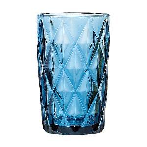 Conjunto de 06 Copos Vidro Diamond Azul - Lyor
