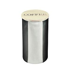 Pote de Vidro Coffee Clear Cinza Com Tampa de Madeira