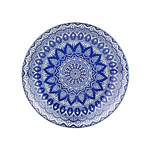 Prato de Sobremesa de Porcelana Geométrico Azul