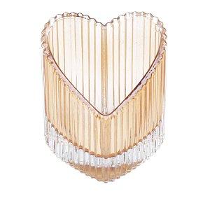 Castiçal de Vidro Heart Âmbar Coração