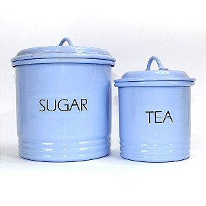 Dupla de Latas Caneladas Chá e Açúcar Azul