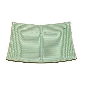 Travessa Quadrada de Cerâmica Banana Leaf  Verde 27cm
