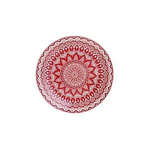 Prato de Sobremesa de Porcelana Geométrico Vermelho