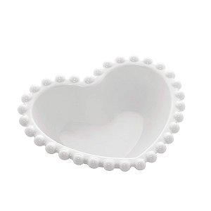 Bowl de Coração de Porcelana Beads com Borda de Bolinhas Branca 13 cm