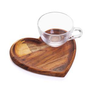 Conjunto Pires de Madeira Teca e Xícara Para Chá