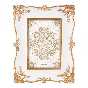 Porta Retrato Resina Branco e Dourado