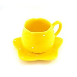 Xícara Chá Tulipa Decorada Amarela