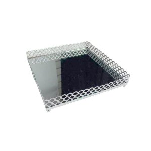 Bandeja de Metal Quadrada Arch Border Prata 16,5 cm