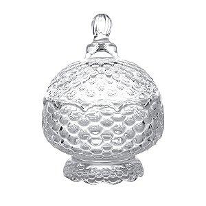 Potiche Decorativo com Pé de Cristal de Chumbo Pinneaple