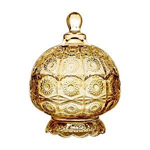 Potiche Decorativo com Pé de Cristal de Chumbo Sun Âmbar