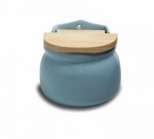 Saleiro de Cerâmica Azul com Tampa de Madeira