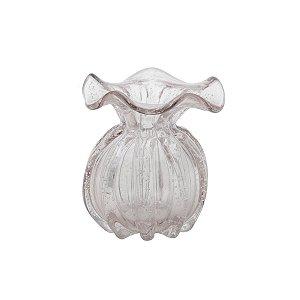 Vaso de Vidro Sodo-Cálcico Italy Rosa Claro e Dourado 13 Cm - Lyor