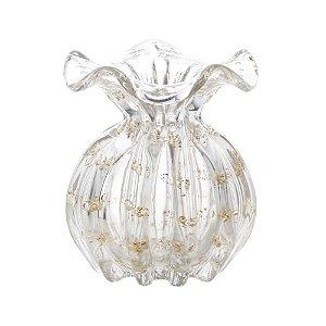 Vaso de Vidro Sodo-Cálcico Italy Transparente  e Dourado 13 Cm - Lyor
