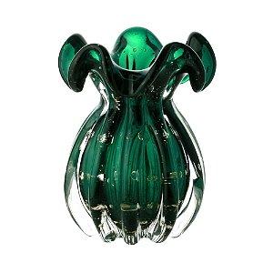Vaso de Vidro Sodo-Cálcico Italy Esmeralda e Dourado 17cm - Lyor