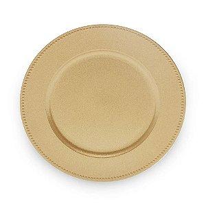 Sousplat de Plástico Dourado Bolinhas