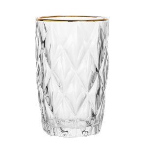 Conjunto de 06 Copos Vidro Diamond Transparente Com Fio Ouro - Lyor