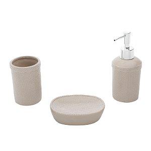 Kit para Banheiro Woven Lace Bege
