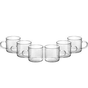 Conjunto com 6 Canecas de Vidro Borossilicato125 ml