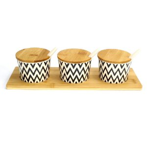 Porta Temperos com 03 potes Eco Black Chevron