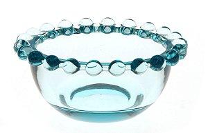 Bowl Decorativo Borda de Bolinhas Vidro Clear Pequeno Azul 8,7cm
