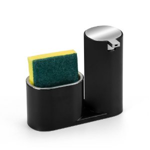 Dispenser Para Detergente E Bucha Preto e Cromado