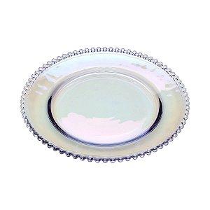 Prato Sousplat de Cristal de Chumbo Pearl Rainbow Bolinhas 32cm - Wolff