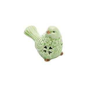 Pássaro Decorativo de Cerâmica Verde Claro
