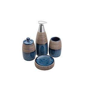 Kit Banheiro Carrara Azul Marinho