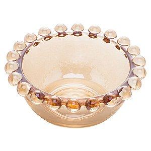 Bowl Borda de Bolinhas Vidro Clear Âmbar Pequeno 8,7cm
