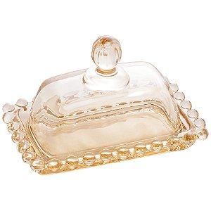 Mini Manteigueira Borda de Bolinhas Pearl Vidro Clear Âmbar 11cm