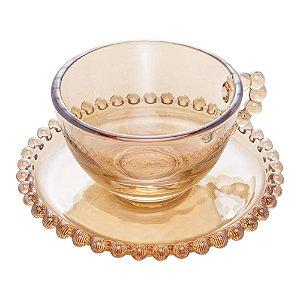 Xícara de Cristal de Chumbo Para Chá Com Pires Bolinhas Pearl Âmbar - 200 ml